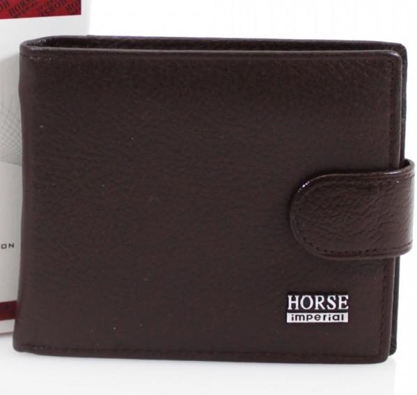 Men's Leather Popper Wallet - Coffee