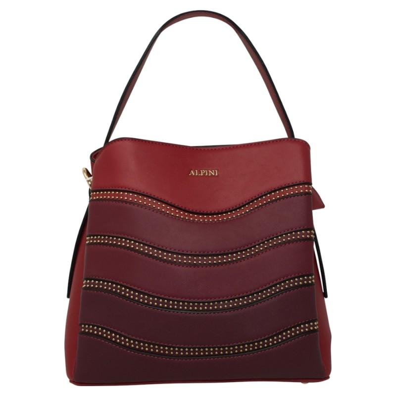Alpini Multi Tone Striped Handbag - Red