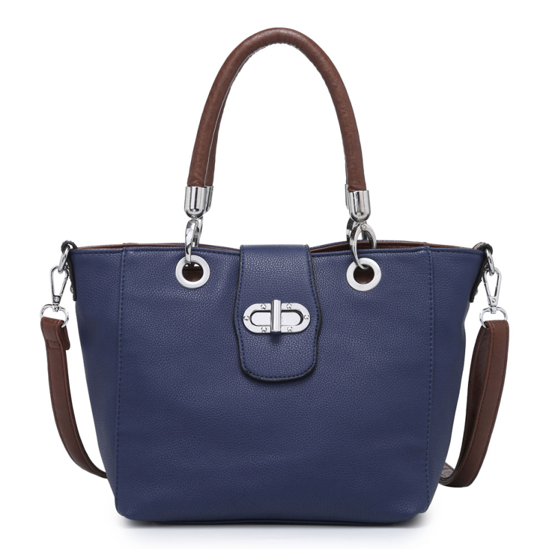 Multi Strap Flap-over Tote Bag - Navy