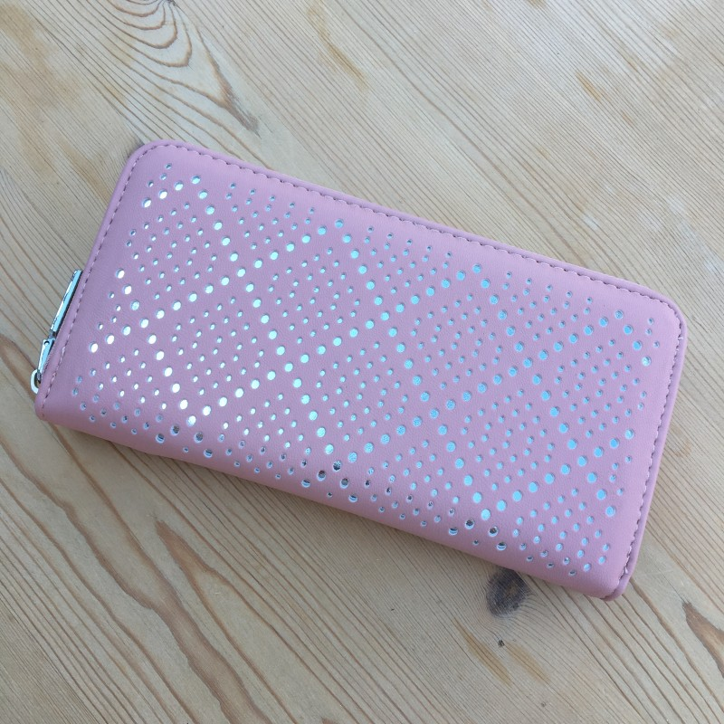 Mesh Cut Out Layer Purse - Pink