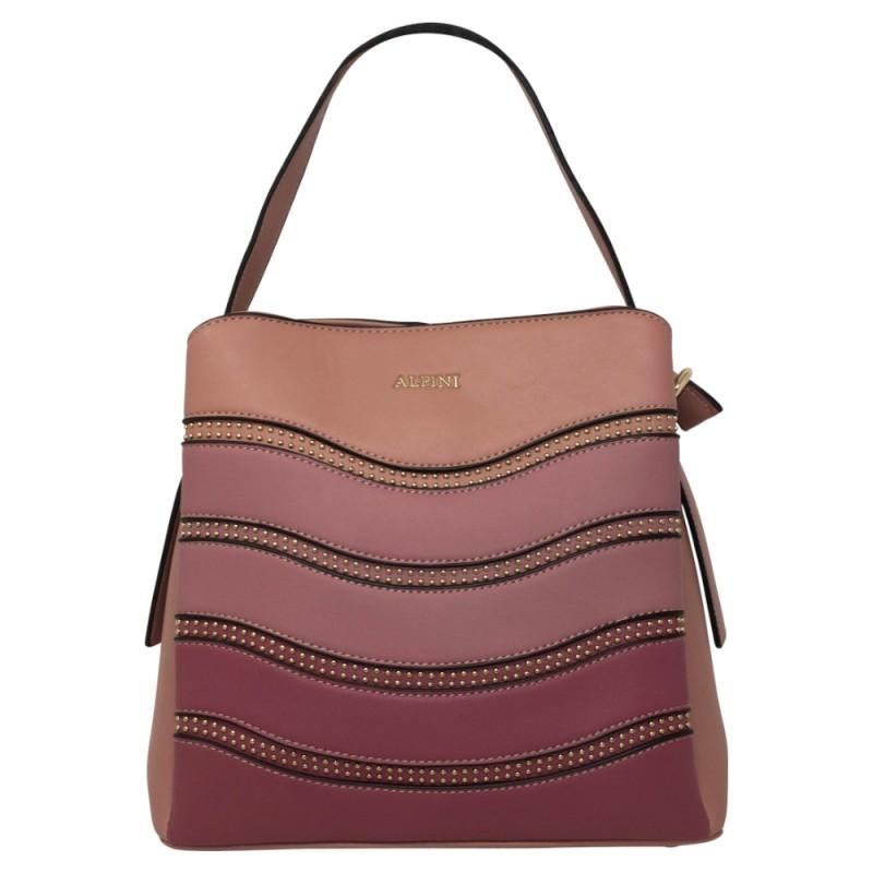Alpini Multi Tone Striped Handbag - Pink