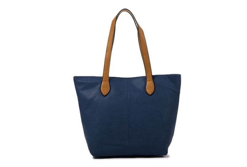 Bucket Bag with Contrast Handles - Navy