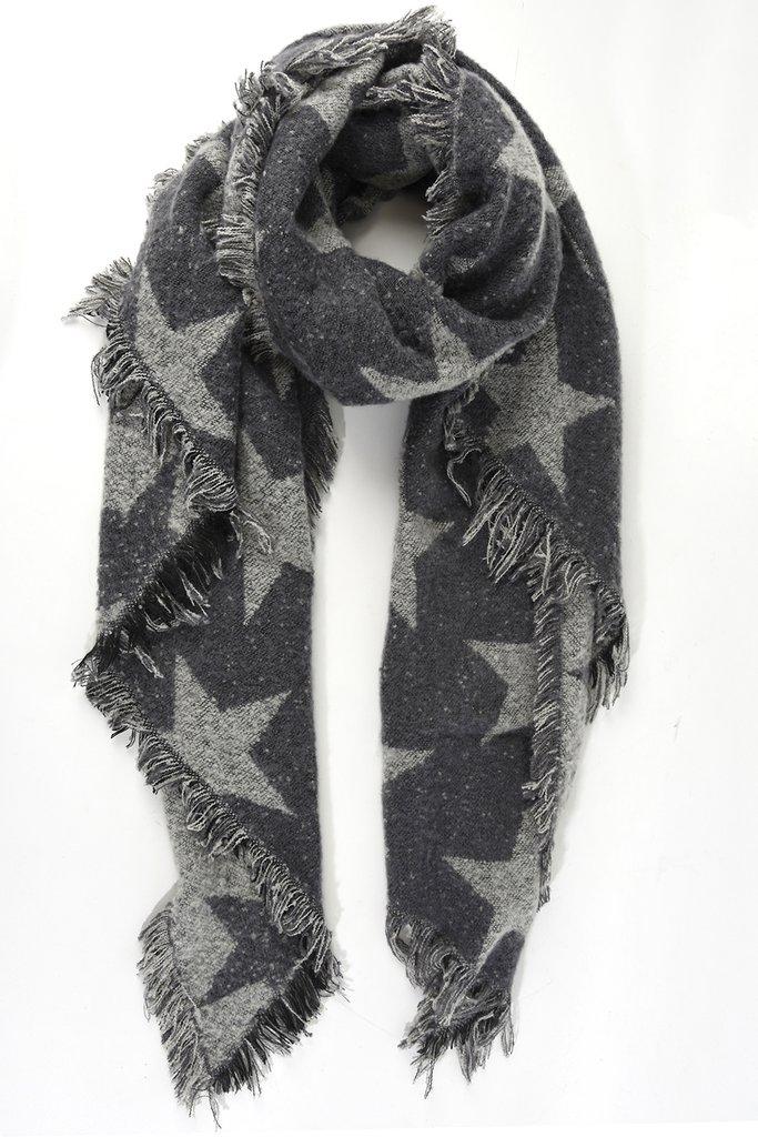 Chunky Knit Star Scarf - Charcoal/Light Grey