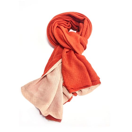 Two Tone Chunky Pleated Scarf - Rust/Beige