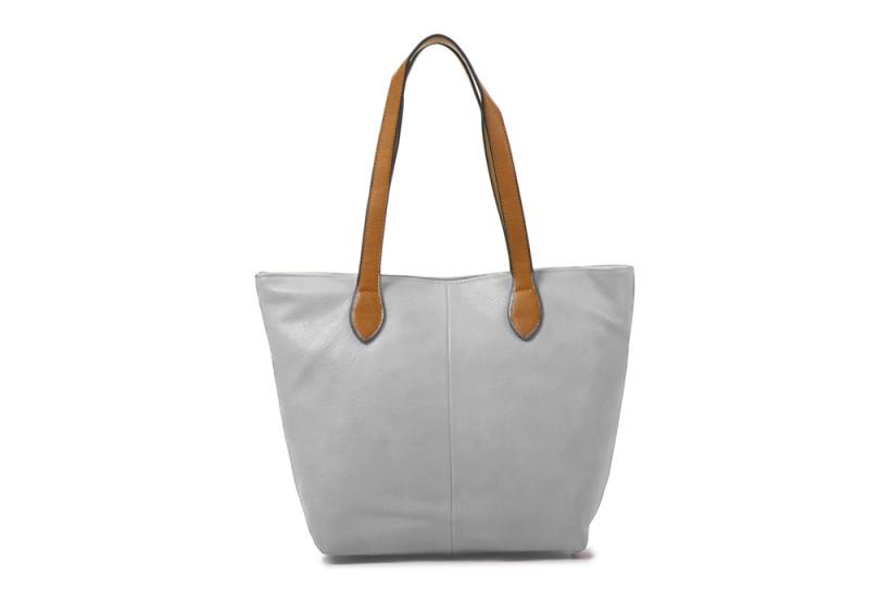 Bucket Bag with Contrast Handles - Light Grey