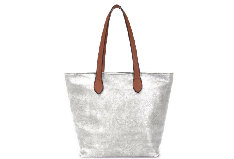 Bucket Bag with Contrast Handles - Silver