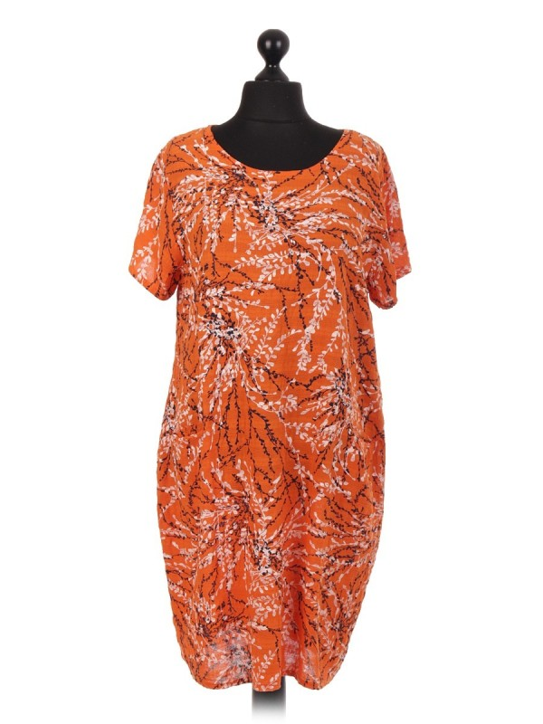 Italian Branch Printed Short Sleeve Dress With Pockets - Orange