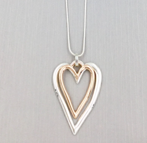 2 Hanging Hearts Necklace - Rose Gold/Silver