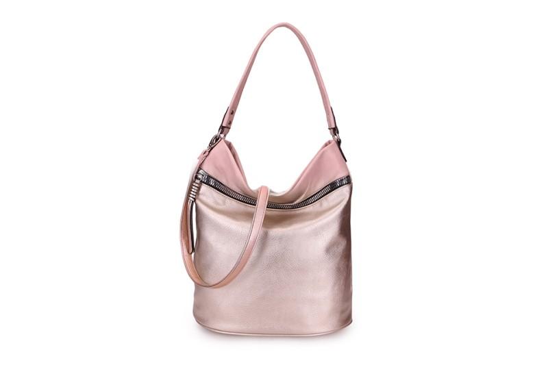 Large Soft Multi Pocket Detail Shoulder Bag - Rose Gold/Dusky Pink
