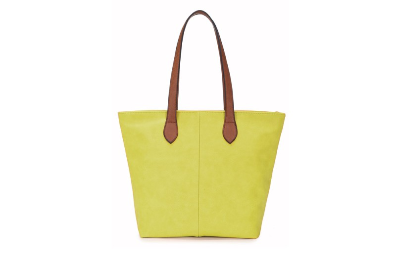 Bucket Bag with Contrast Handles - Lime
