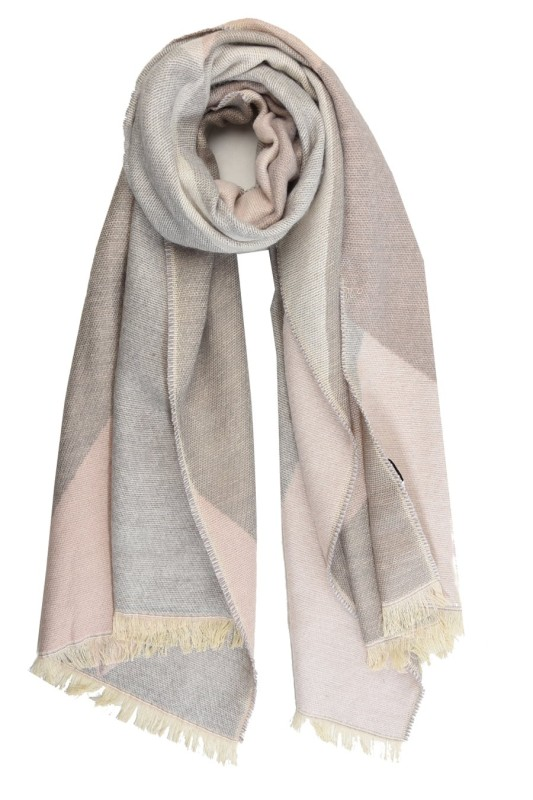 Geometric Blanket Scarf - Light Grey/Pink
