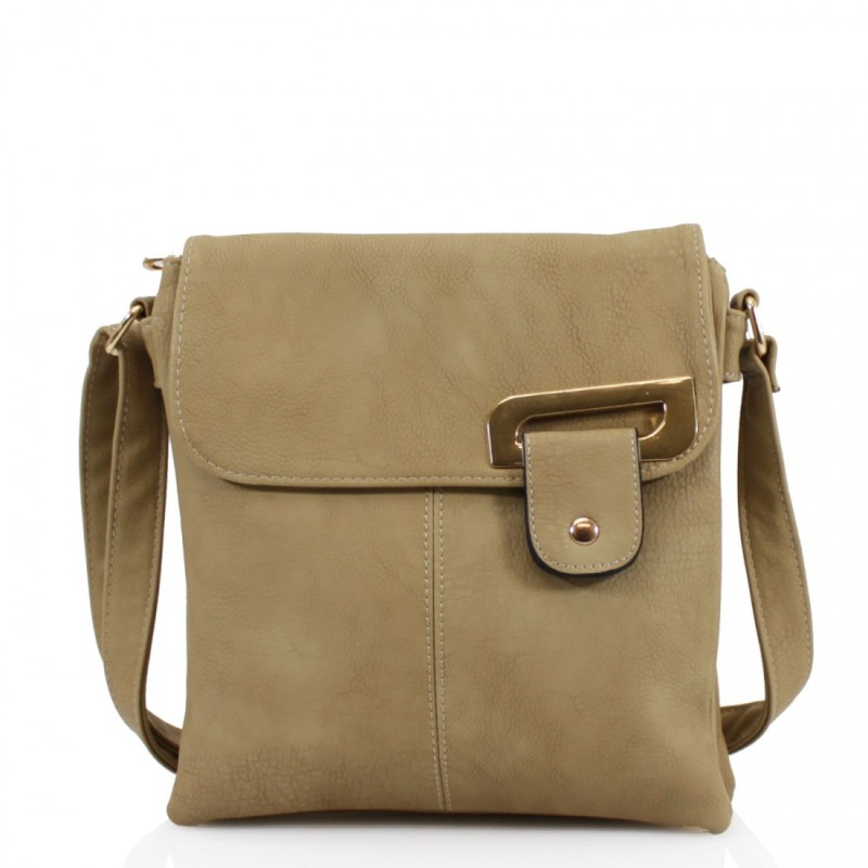 Asymmetric Multi Pocket Messenger Bag - Khaki