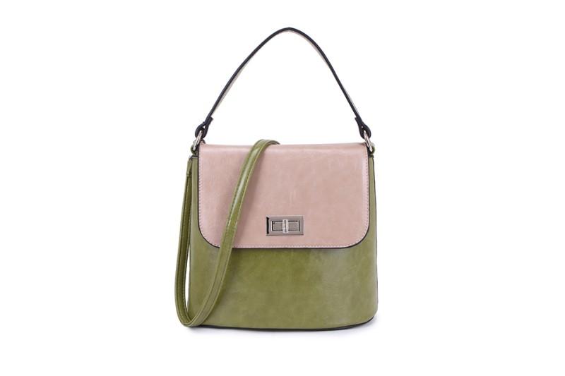 2 Tone Classic Handbag - Green/Beige