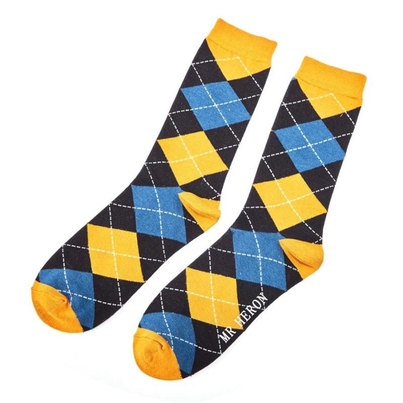 Men's Argyle Bamboo Socks - Mustard