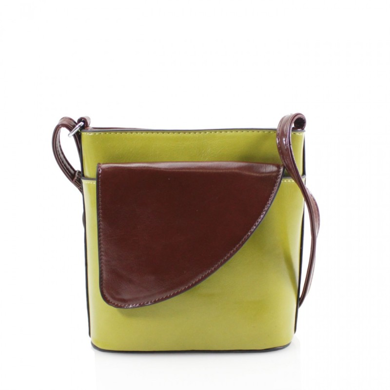2 Tone Small Cross Body Handbag - Lime