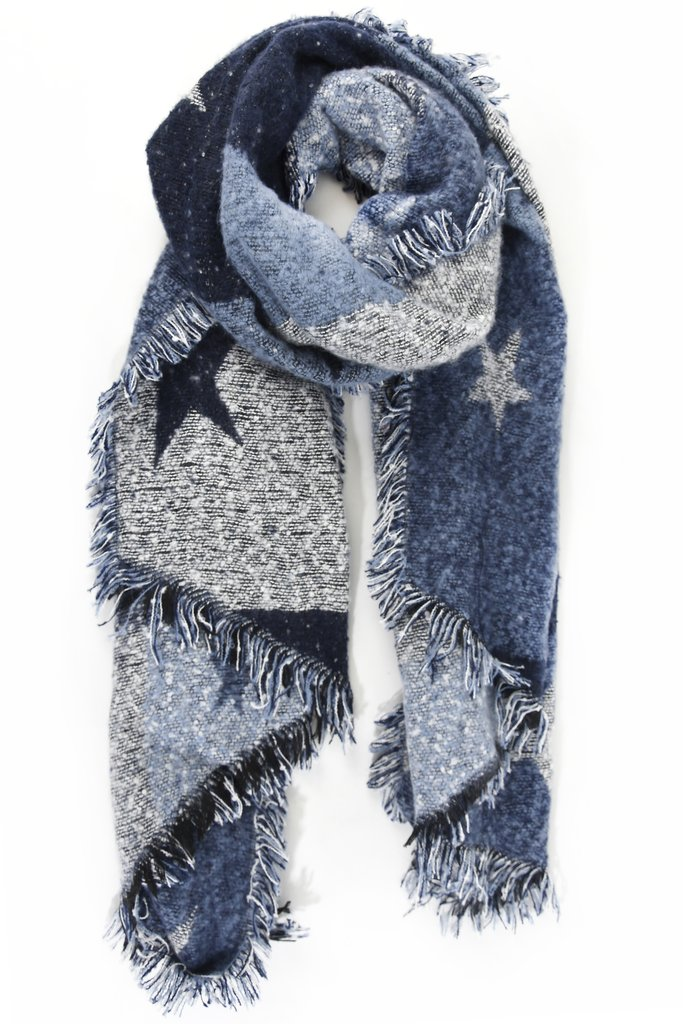 Multi Tone Asymmetric Star Scarf - Blue
