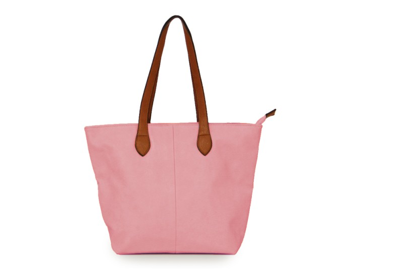 Bucket Bag with Contrast Handles - Dusky Pink