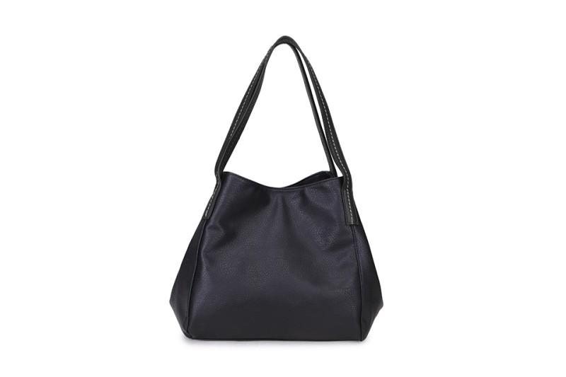 3 Section Stitched Shoulder Bag - Black