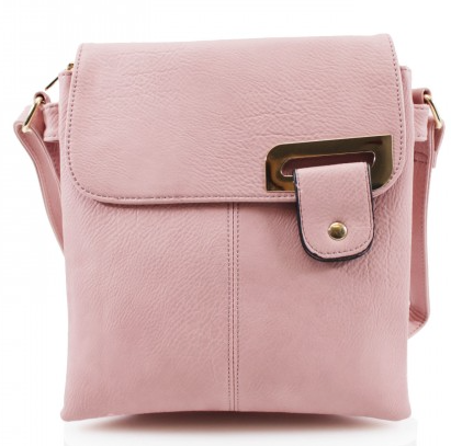Asymmetric Multi Pocket Messenger Bag - Pink