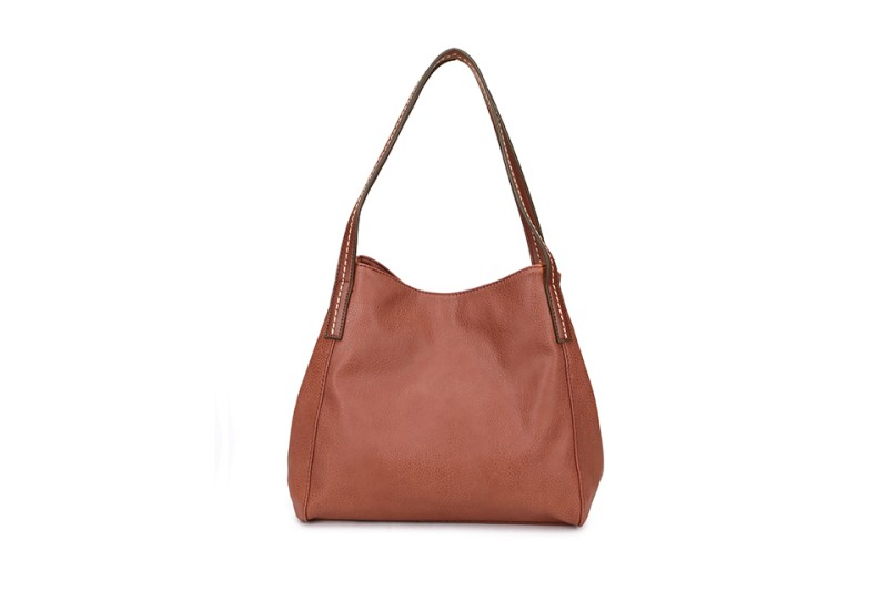 3 Section Stitched Shoulder Bag - Tan