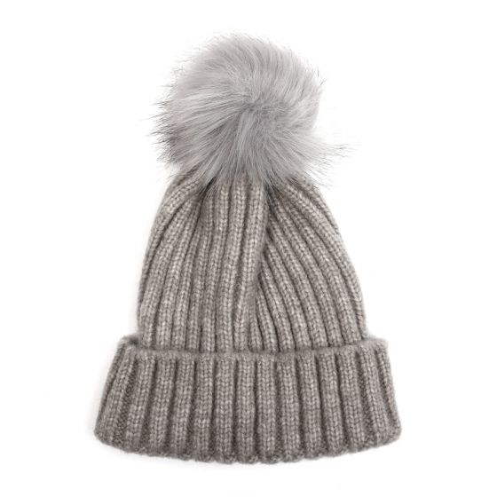 Chunky Knit Ribbed Pom Pom Hat - Grey