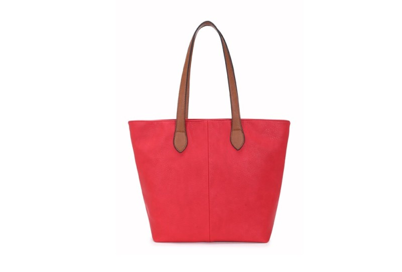 Bucket Bag with Contrast Handles - Red
