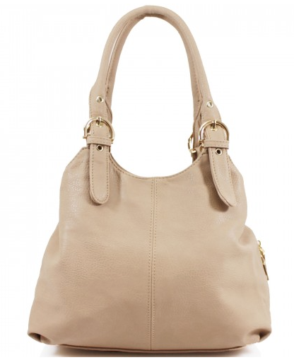 3 Section Buckle Bag - Beige