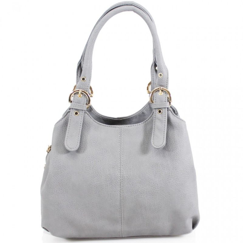3 Section Buckle Bag - Light Grey
