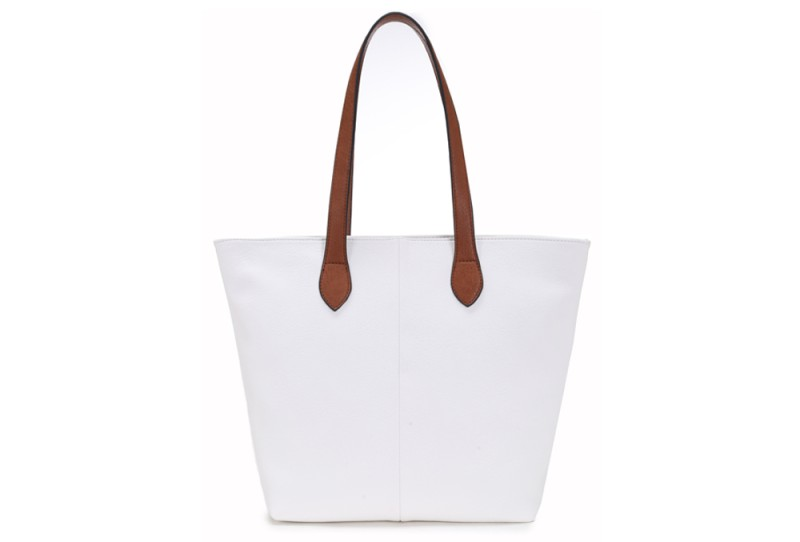 Bucket Bag with Contrast Handles - White
