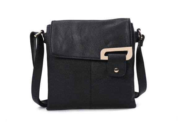 Asymmetric Multi Pocket Messenger Bag - Black