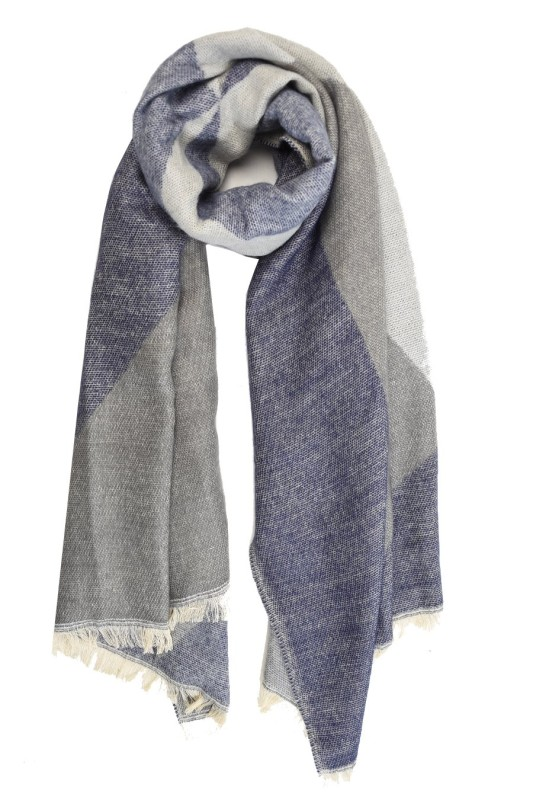 Geometric Blanket Scarf - Navy/Grey
