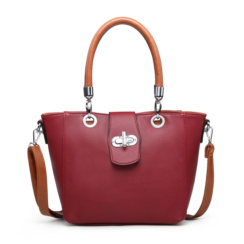 Multi Strap Flap-over Tote Bag - Wine