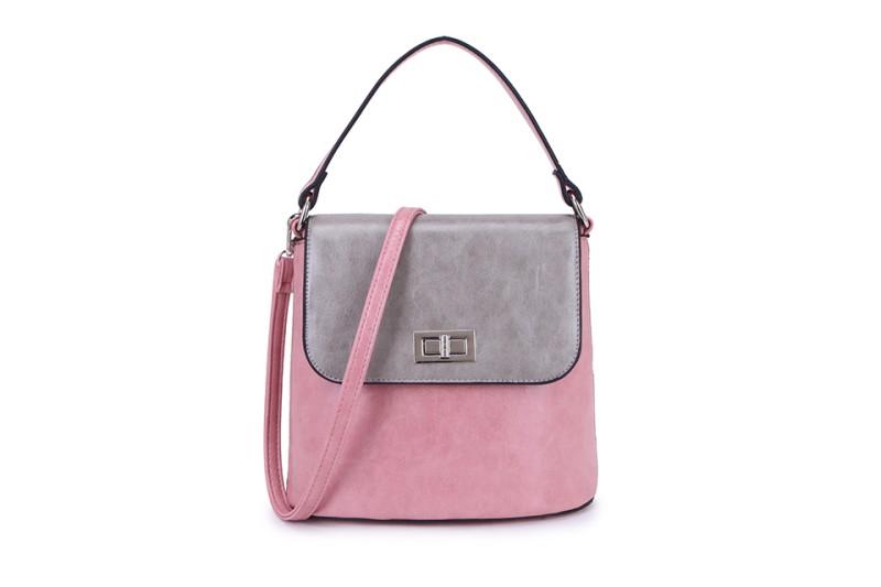 2 Tone Classic Handbag - Pink/Light Grey