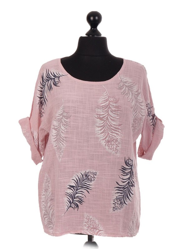 Italian Cotton Feather Print Top - Pink