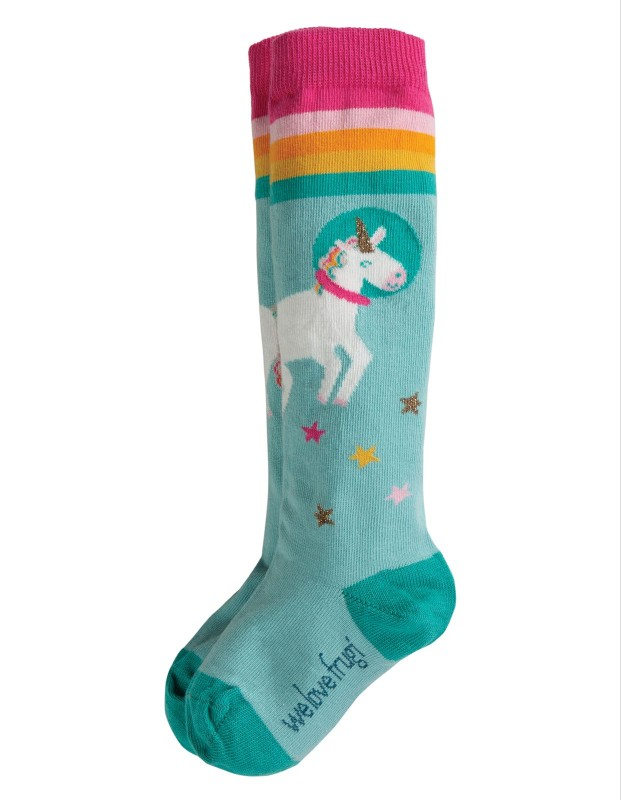 Frugi Hygge High Knee Socks, Unicorn 2pk