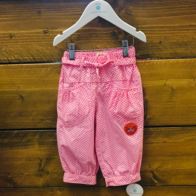 ME TOO TROUSERS PINK WITH RED DOT 12-18M