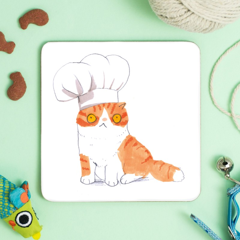 Cat In Chef Hat Coaster by Jo Clark