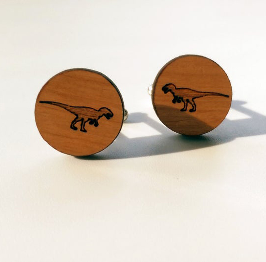 T-rex dinosaur wooden cufflinks by Designosaur