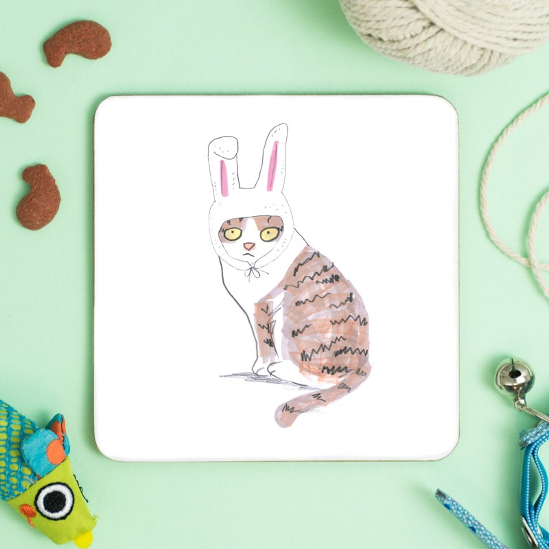 Cat In Bunny Hat Coaster by Jo Clark