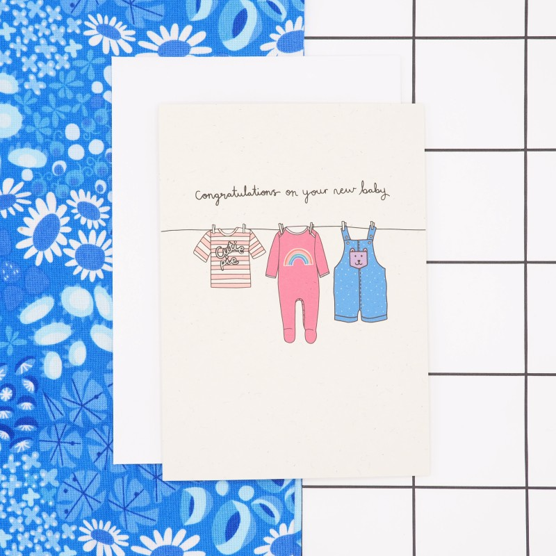 New Baby Card (Pink/Peach) by Harriet Emily