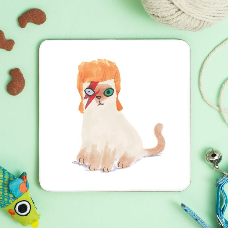 Cat In David Bowie Wig Drinks Coaster by Jo Clark