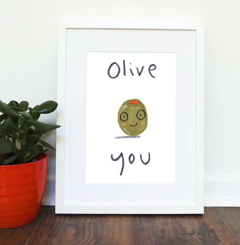 Olive You A4 unframed print by Jo Clark