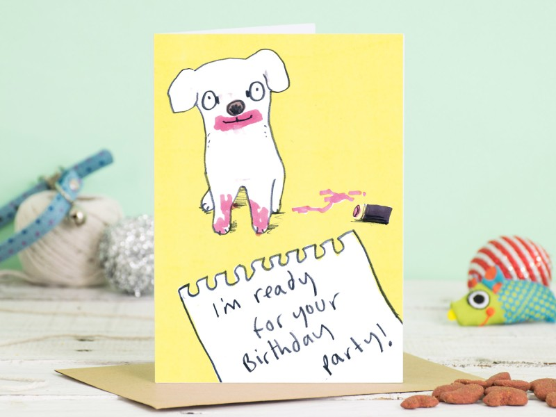 All Dolled Up Dog Birthday Card by Jo Clark