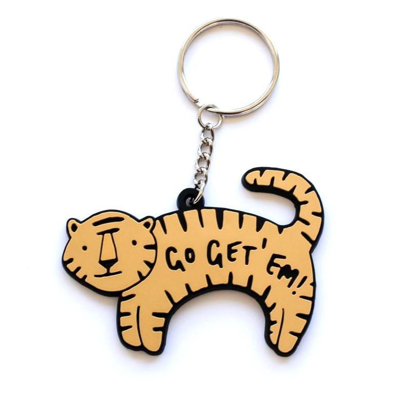 Go Get Em Tiger PVC Keyring by Old English Co.