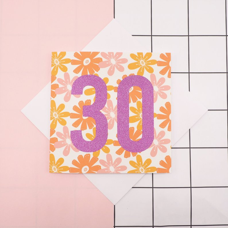 Floral & Glitter Age Birthday Card by Harriet Emily