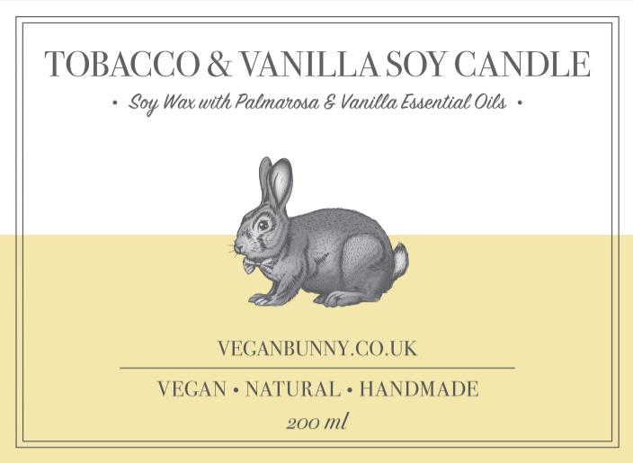 Tobacco & Vanilla Soy Candle by Vegan Bunny