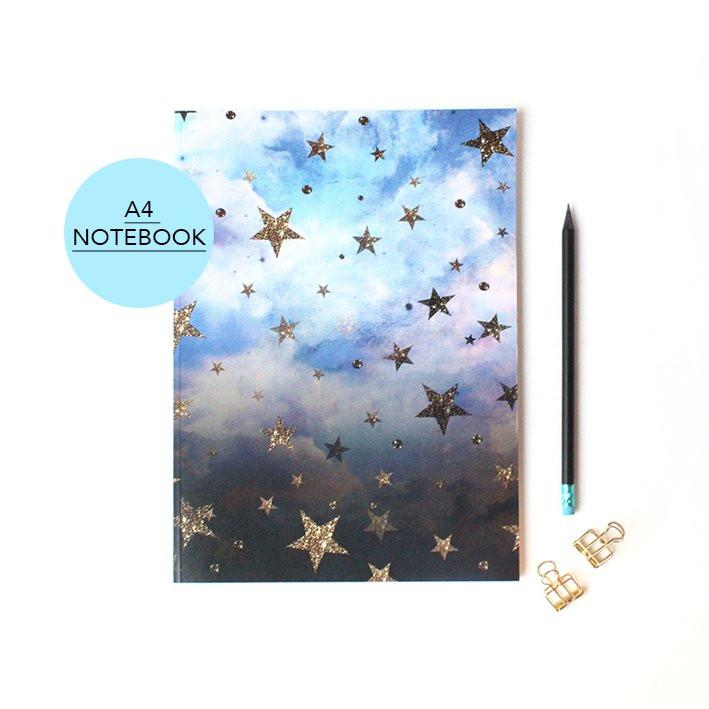 Cloudy Stars celestial A4 Notebook with lined pages by Nikki Strange