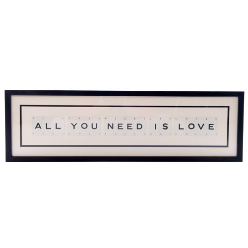 'All you need is love' frame by Vintage Playing Cards