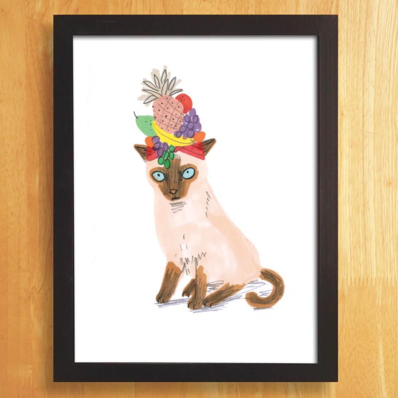 Cat In Fruity Hat A4 unframed print by Jo Clark