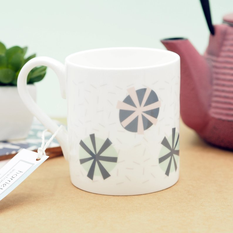 Abstract Floral Patten Bone China Mug by Harriet Emily